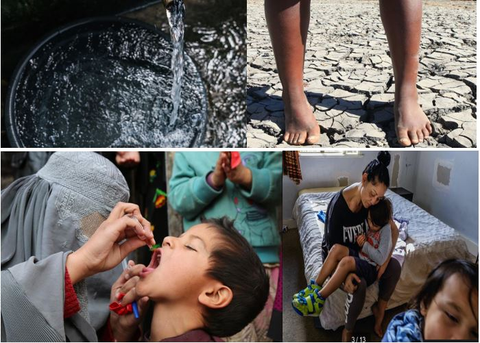 Collage of images of water and children being cared for