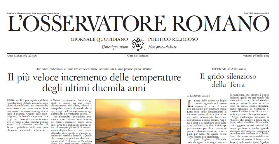 WASH in healthcare in L'Osservatore Romano, the official Vatican Newspaper